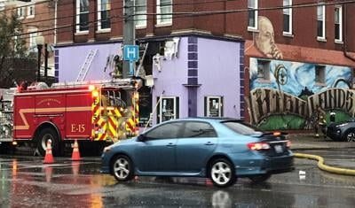 Fire crews at Wick's Pizza Parlor (Highlands location) on July 30, 2020
