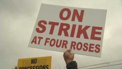 Union members on fourth day of labor strike outside Four Roses