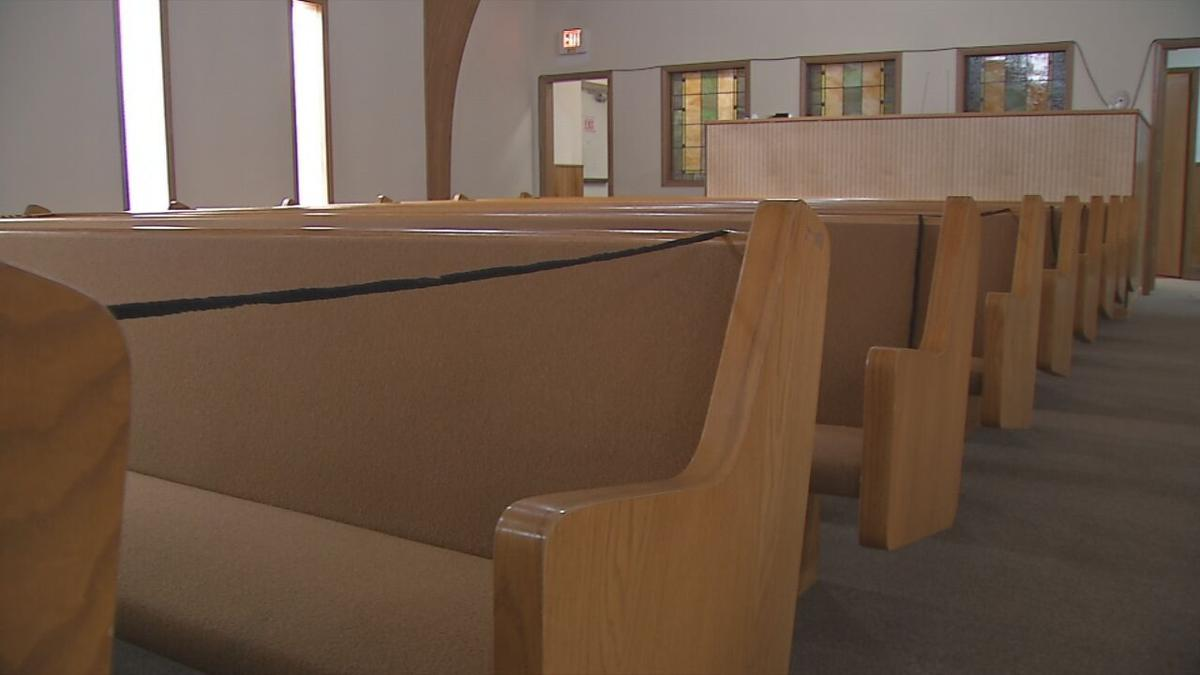 Pews blocked off at Joshua Tabernacle Missionary Baptist Church