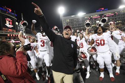 Indiana head coach Tom Allen, center, celebrates with his team
