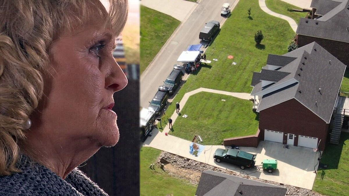 Sherry Ballard (left) and aerial of FBI Crystal Rogers investigation (right)