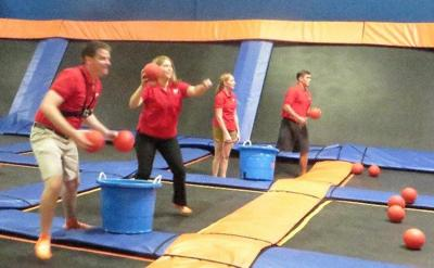 IMAGES: Morning anchor teams compete on trampolines in their own Ultimate Dodgeball Championship