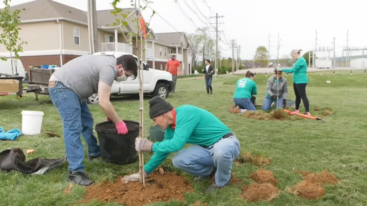 WDRB employees plant trees at Sanders Elementary School (April 23, 2021)
