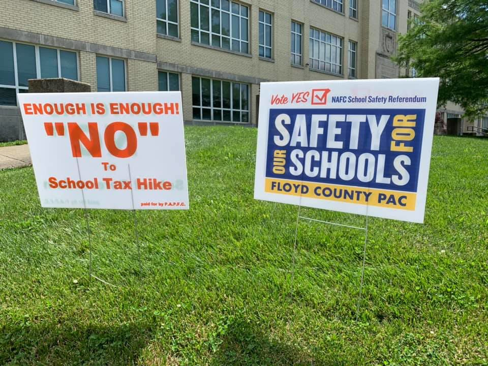 School safety referendum for New Albany Floyd County Schools signs