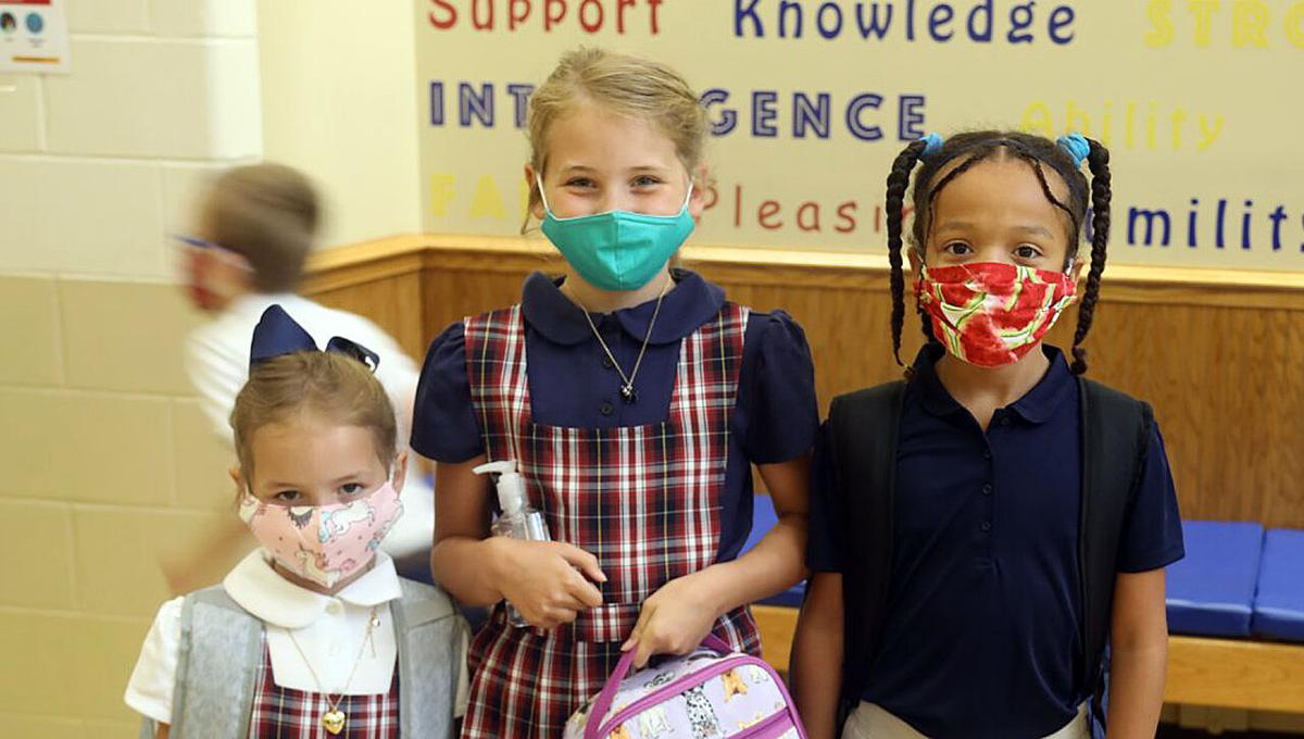 Masked students at Christian Academy of Indiana