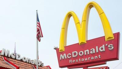 McDonalds Restaurant with US Flag