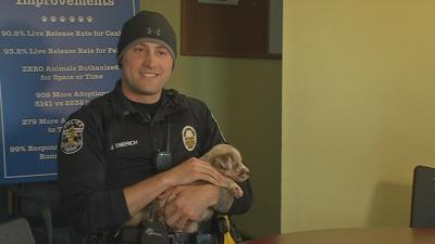 LMPD officer adopting puppy he helped to rescue from burglary suspect