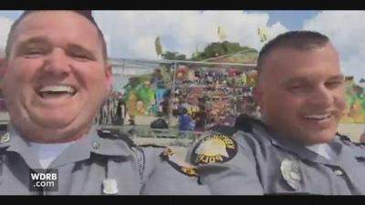 VIDEO | Kentucky State Police troopers enjoy ride at state fair