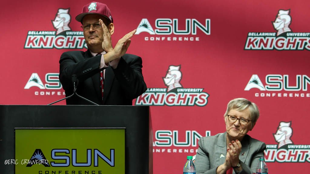 ASUN commissioner Ted Gumbart and Bellarmine president Susan Donovan