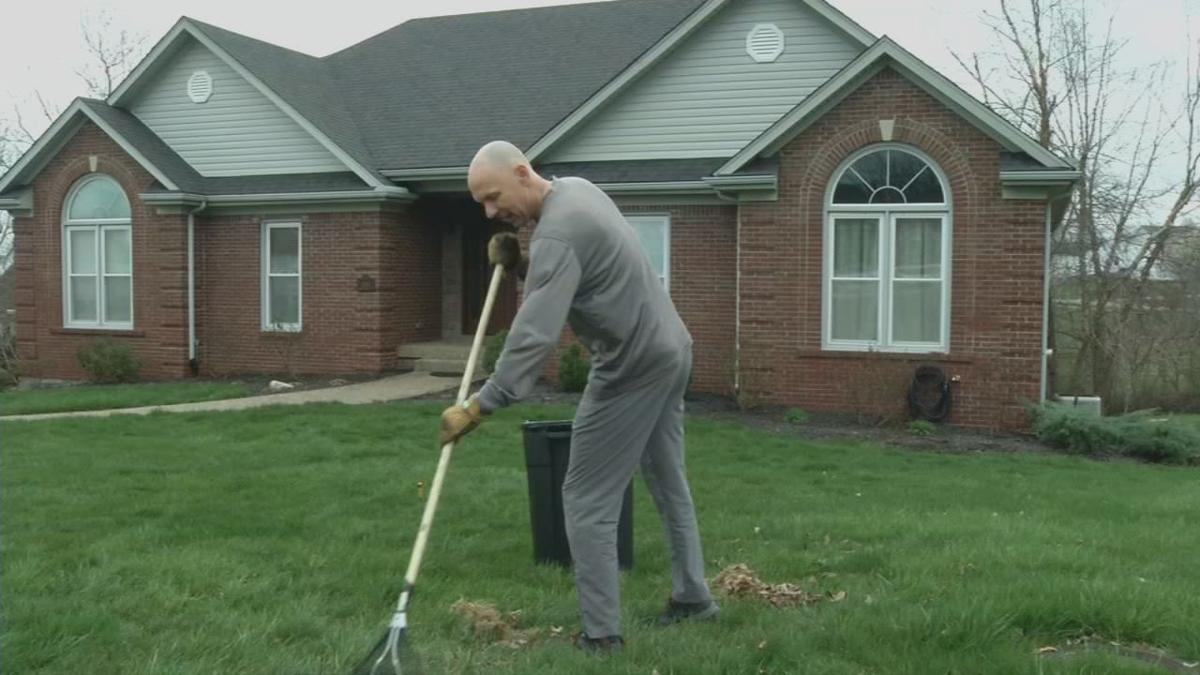 Todd Saxey does yard work