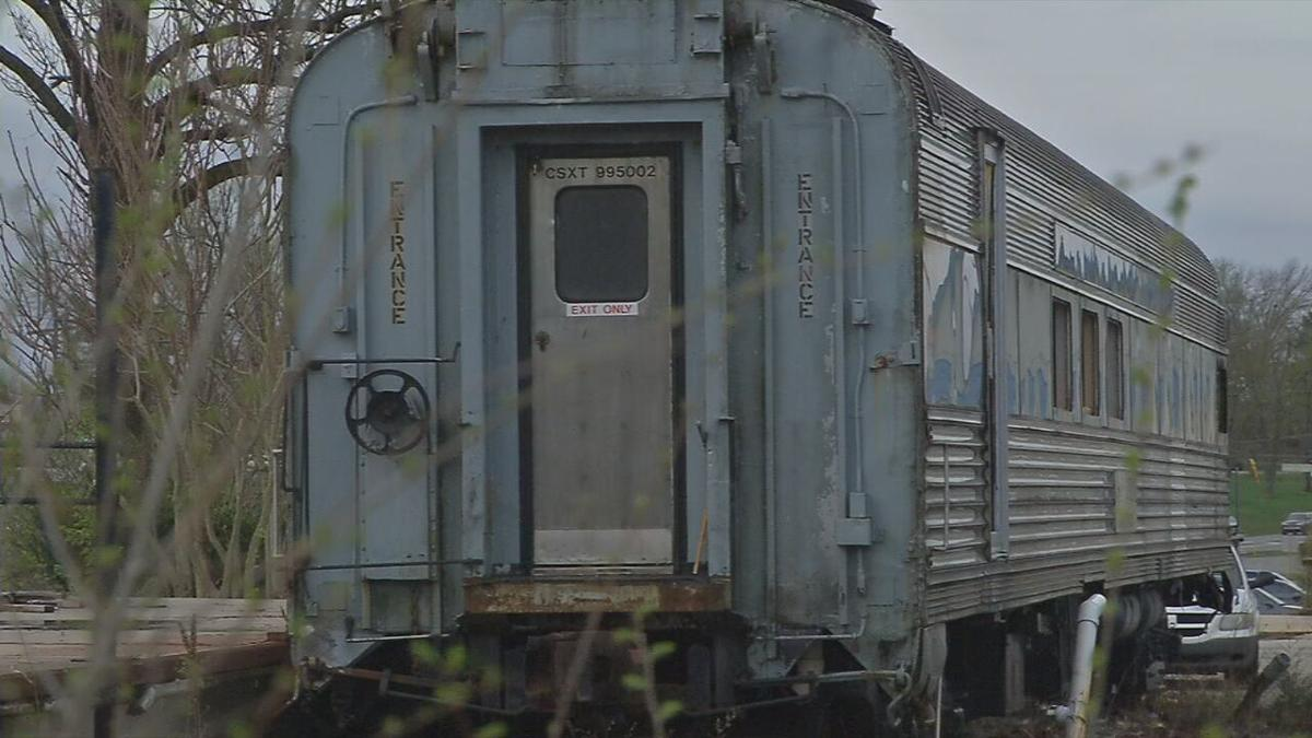 80-year-old train car in Charlestown, Indiana