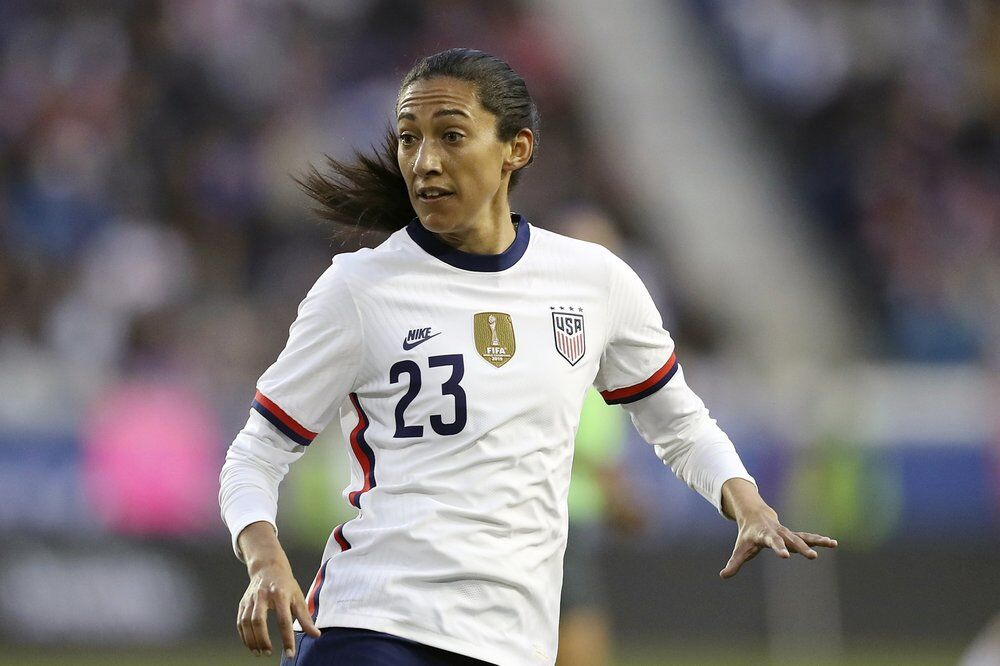United States forward Christen Press looks for a pass during the second half of a SheBelieves Cup soccer match