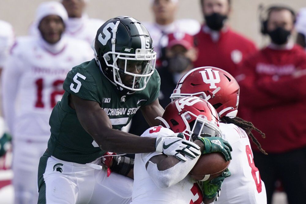 Indiana defensive back Tiawan Mullen (3) intercepts a pass intended for Michigan State