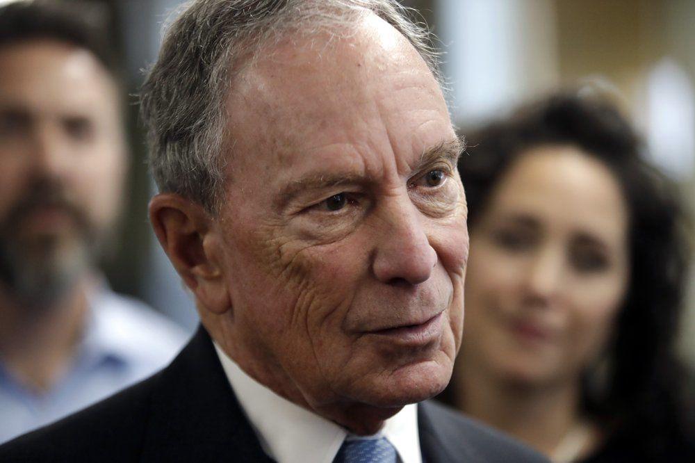 Michael Bloomberg speaks to workers via AP