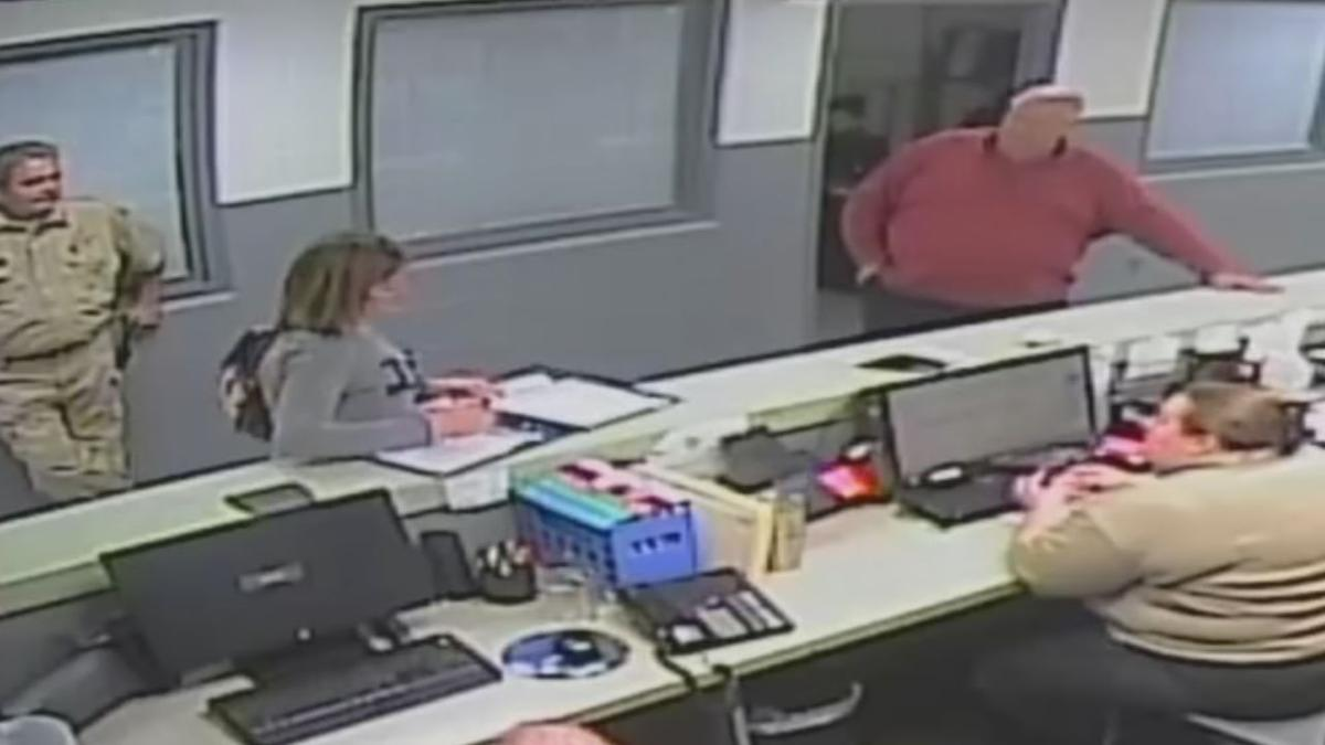 Surveillance video of Bullitt County Jailer Paul Watkins speaking to nurse