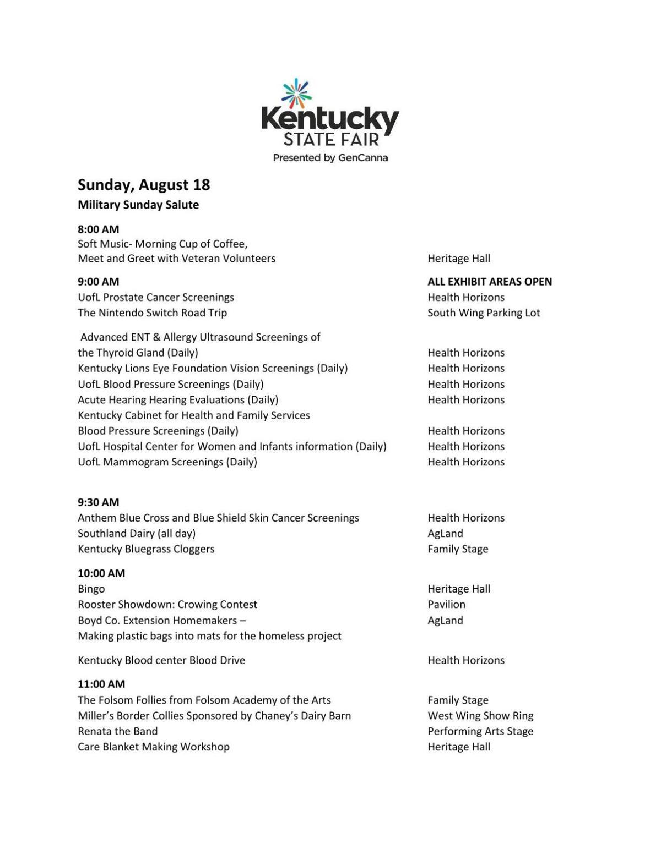 Kentucky State Fair - Sunday, Aug  18 | | wdrb com