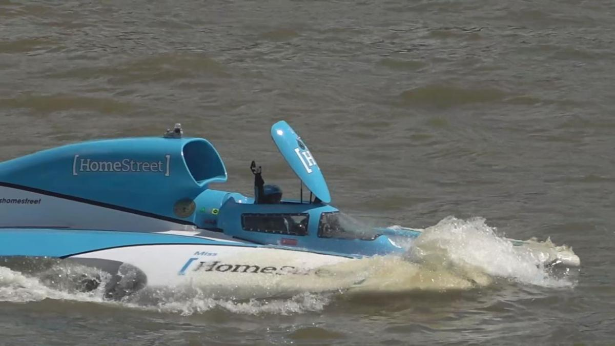 Jimmy Shane waves from hydroplane