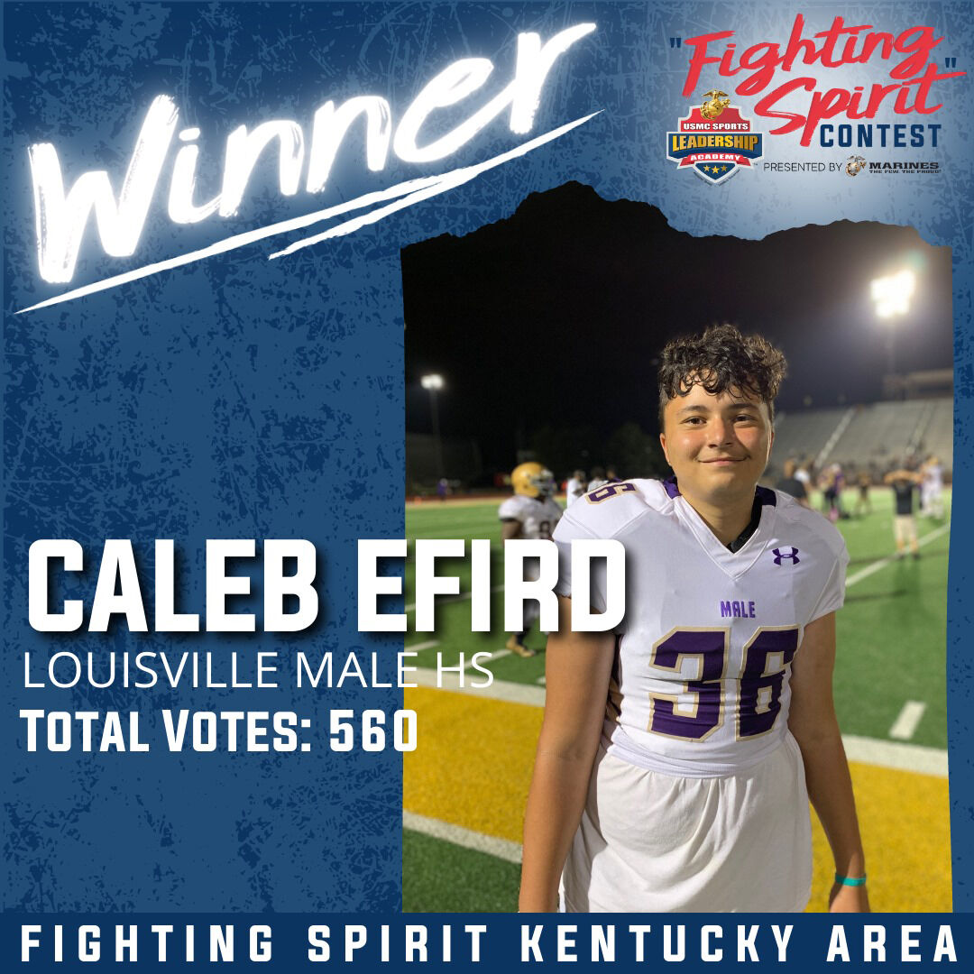 Caleb Efird, recognized by US Marine Corps for 'fighting spirit' (Oct. 2020)