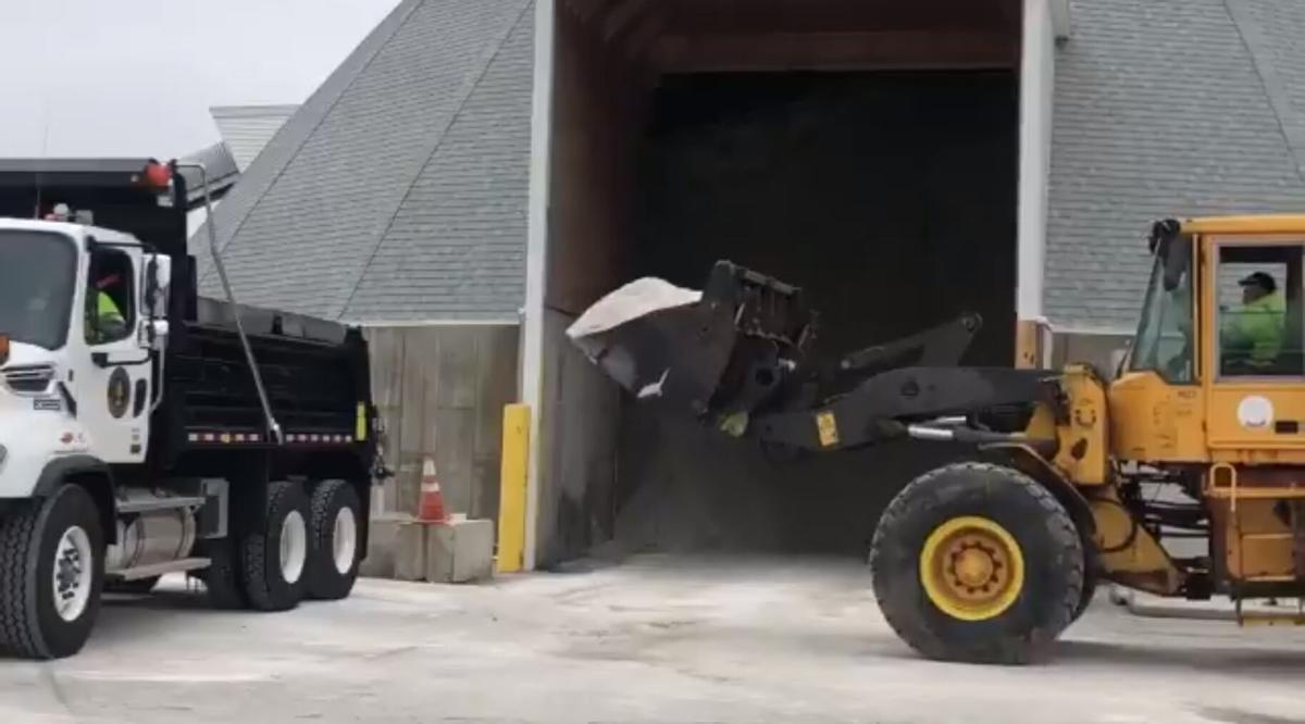 Salt trucks getting ready for snow on Jan. 27, 2021