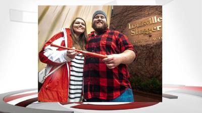engaged Louisville Slugger museum couple