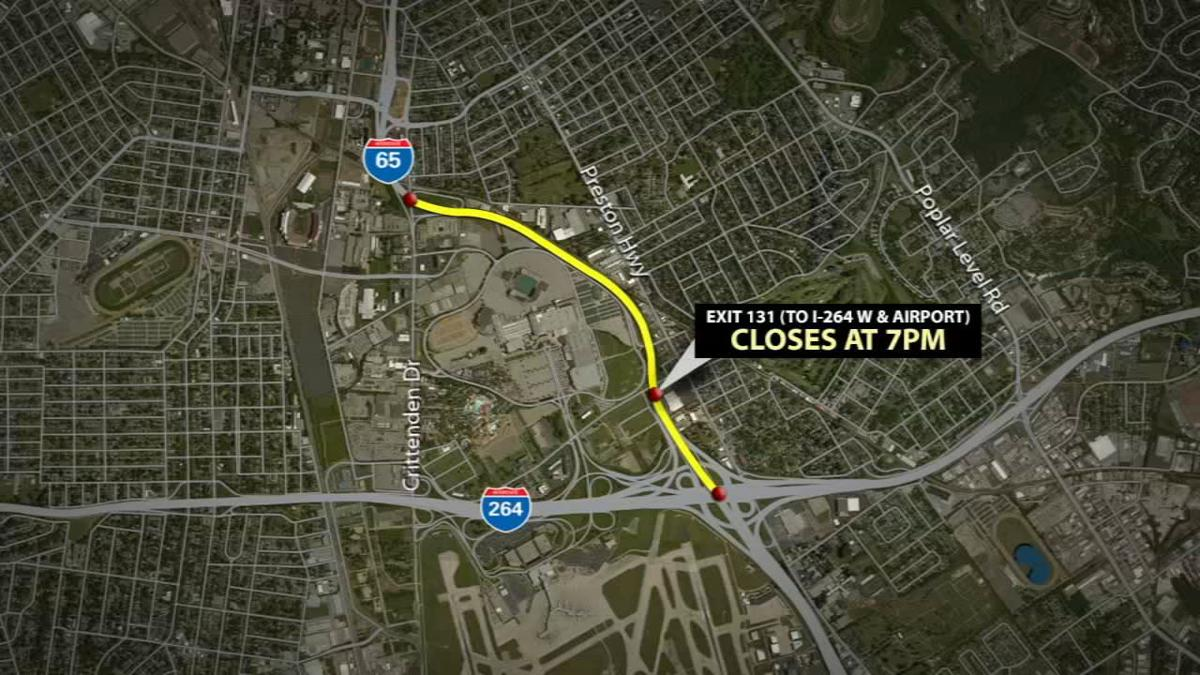 Detours expected as I-65 southbound closes Friday night in Louisville