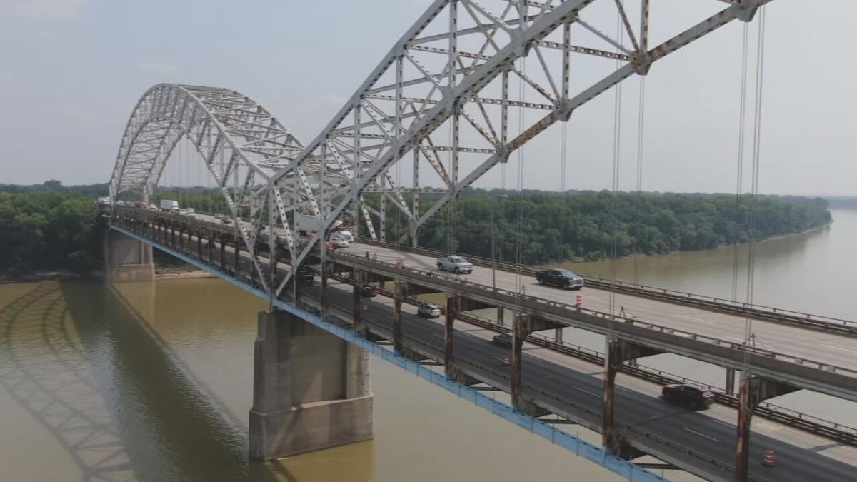 Sherman Minton Bridge with traffic