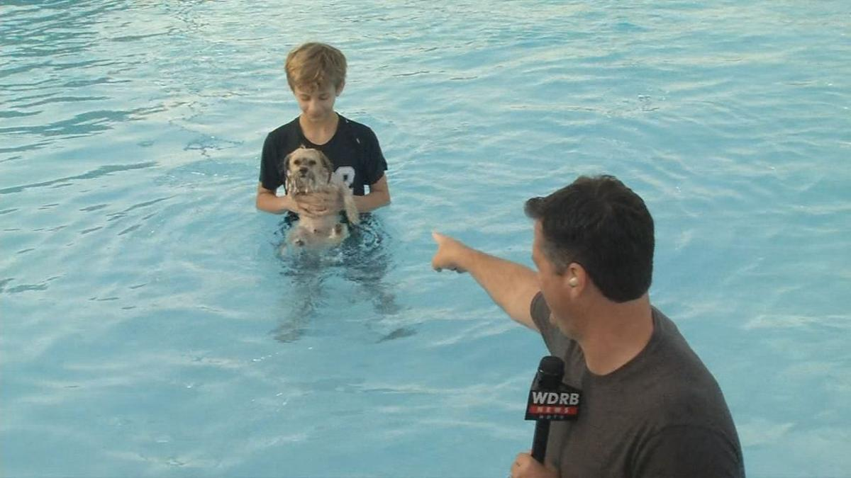 Doggie Dip - Keith points at boy with pup
