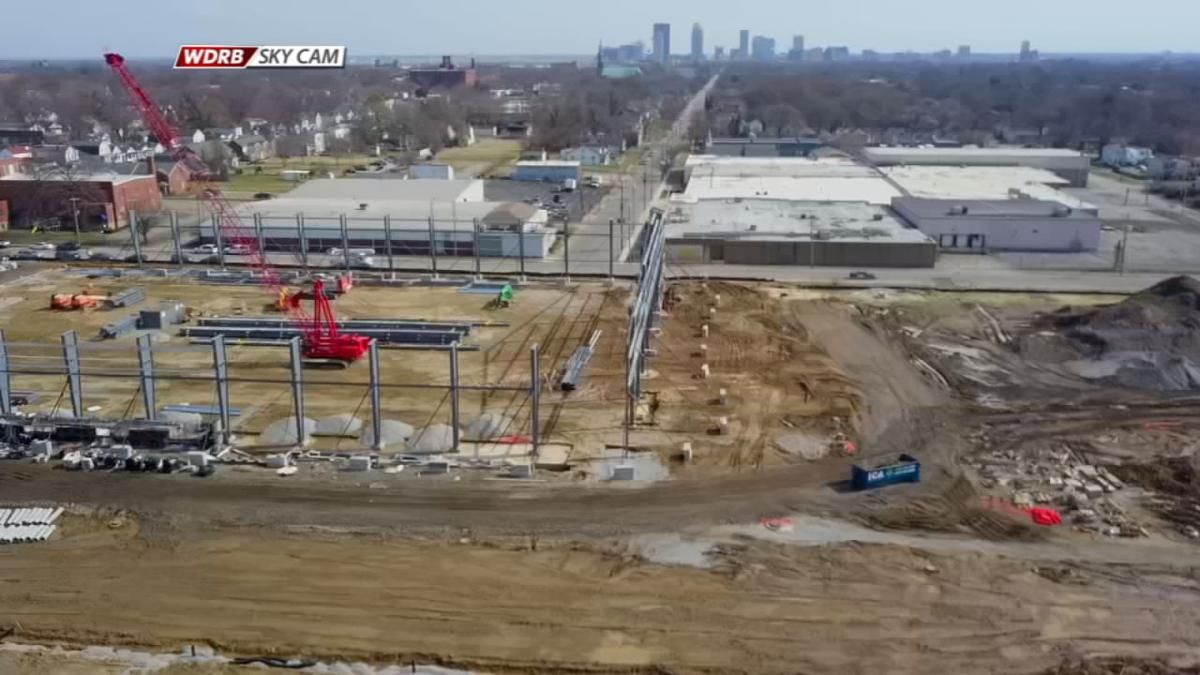 SkyCam view of Urban League Sports and Learning Complex construction
