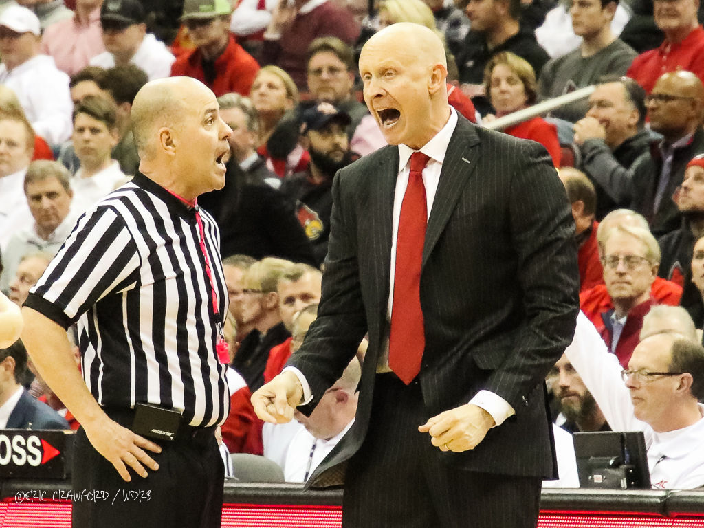 Chris Mack yells at ref