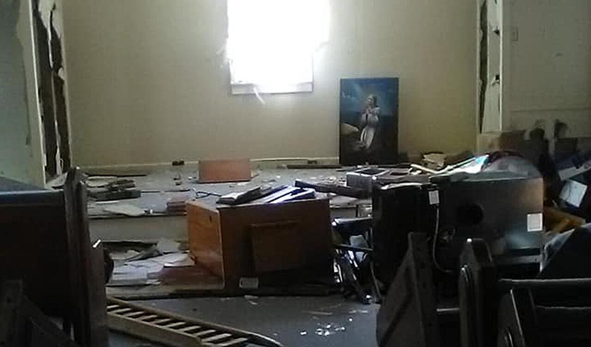 Damage to South Fork Church of God in Powell County, Kentucky after vandals break in