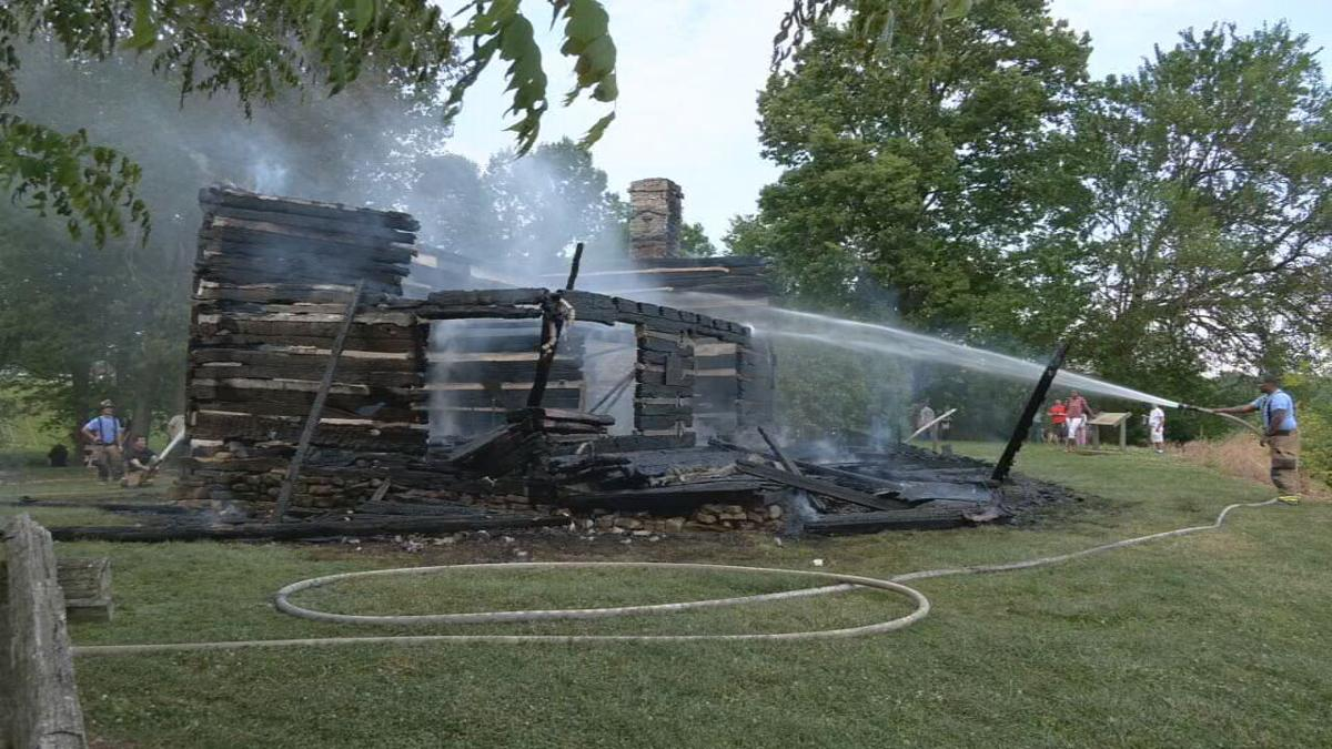 Cabin at George Rogers Clark historic site fire 16.jpeg