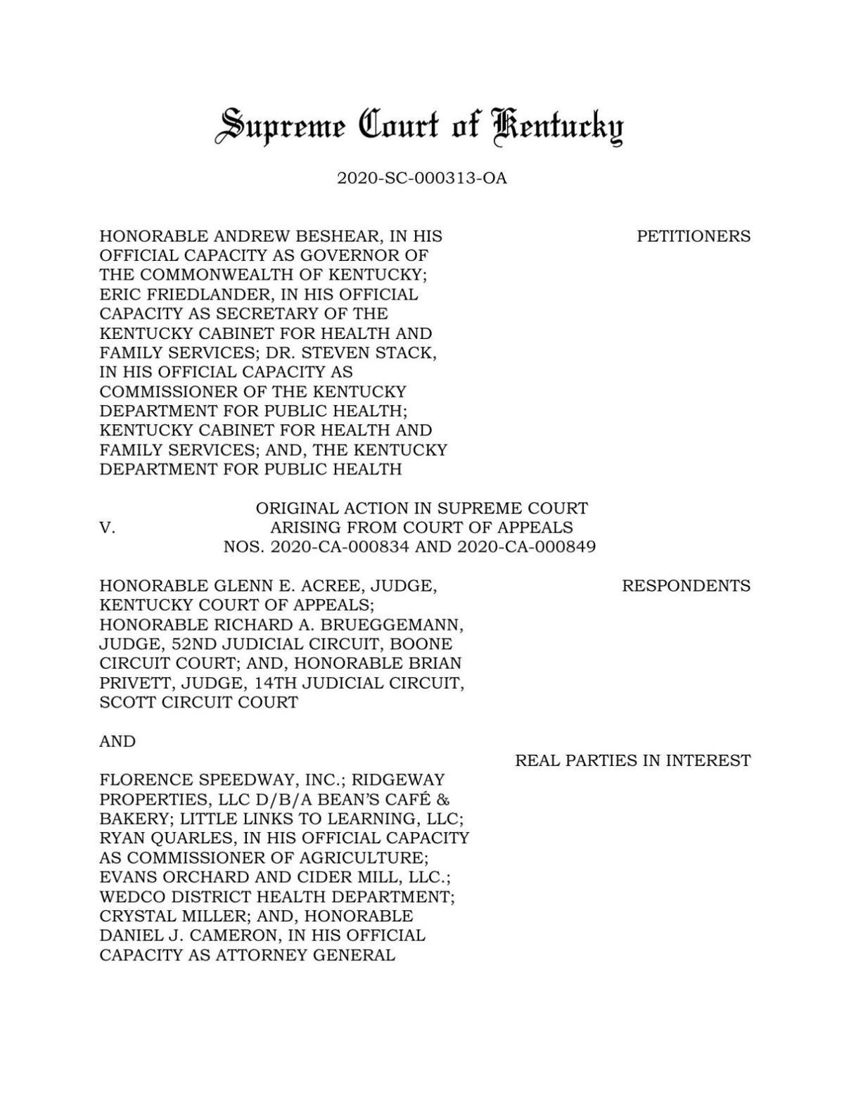 Kentucky Supreme Court's unanimous ruling to uphold Gov. Andy Beshear's COVID-19 orders