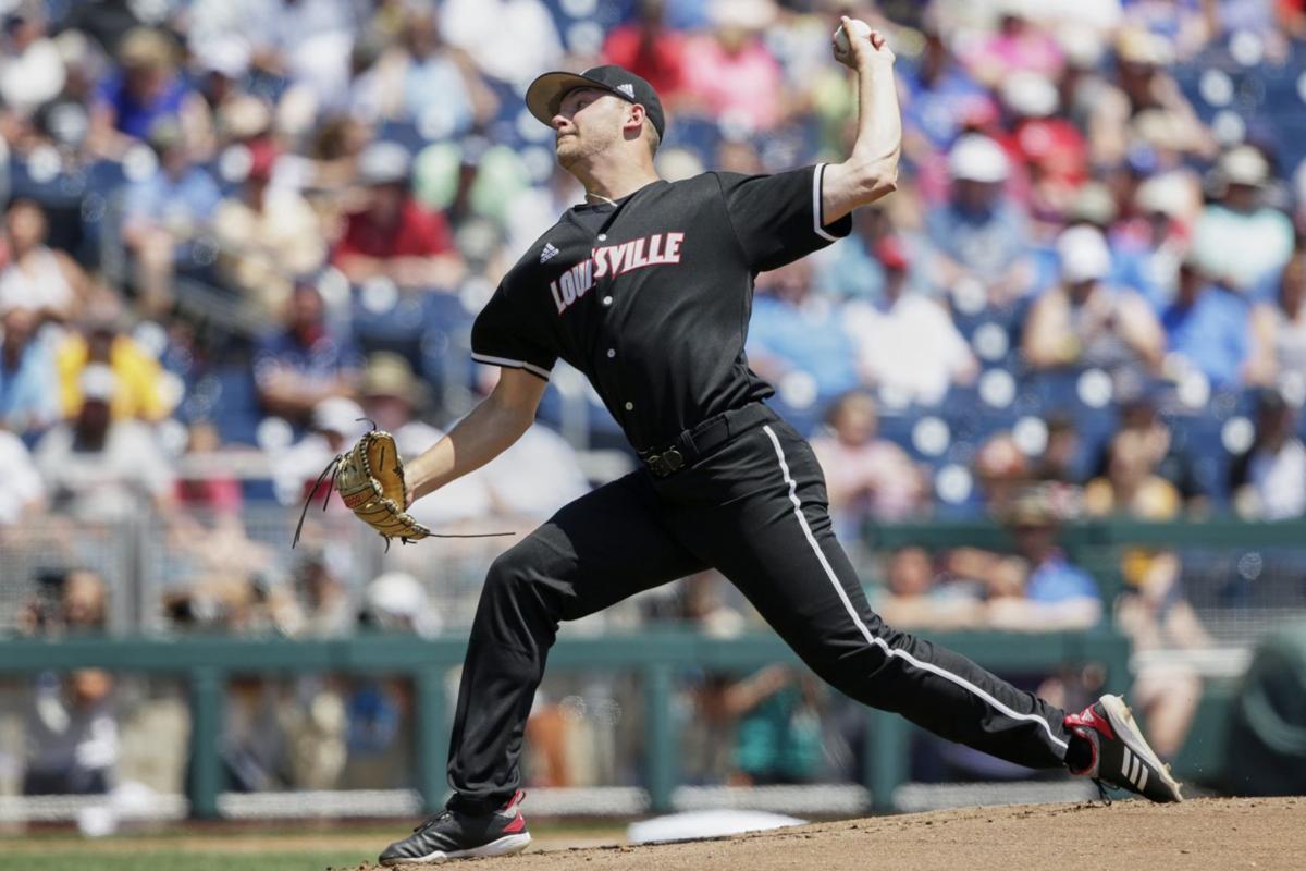 Louisville starting pitcher Reid Detmers delivers against Vanderbilt