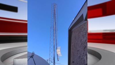 WAKY 103.5 FM tower snapped in half by high winds on Nov. 27, 2019
