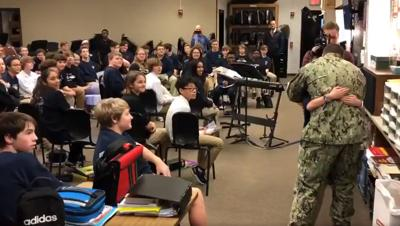 Military dad surprises 8th grade daughter at Crosby Middle School on Feb. 10, 2020