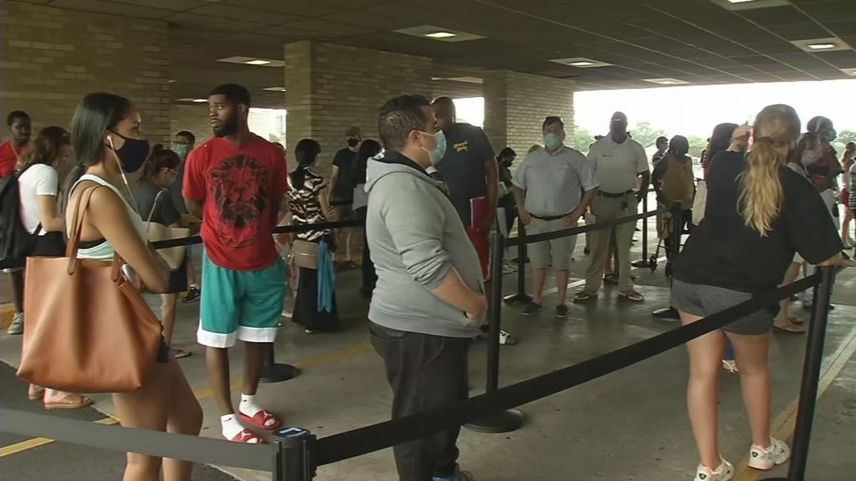 Long line at Driver's License Branch on Bowman Field (July 6, 2020)