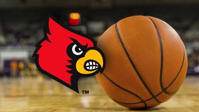 U of L Cardinal logo near basketball