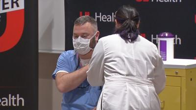 Dr. Jason Smith, U of L Health, gets COVID-19 vaccine
