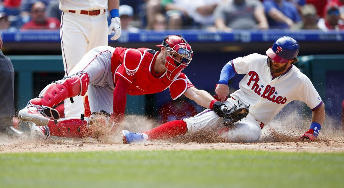 Bryce Harper is tagged out