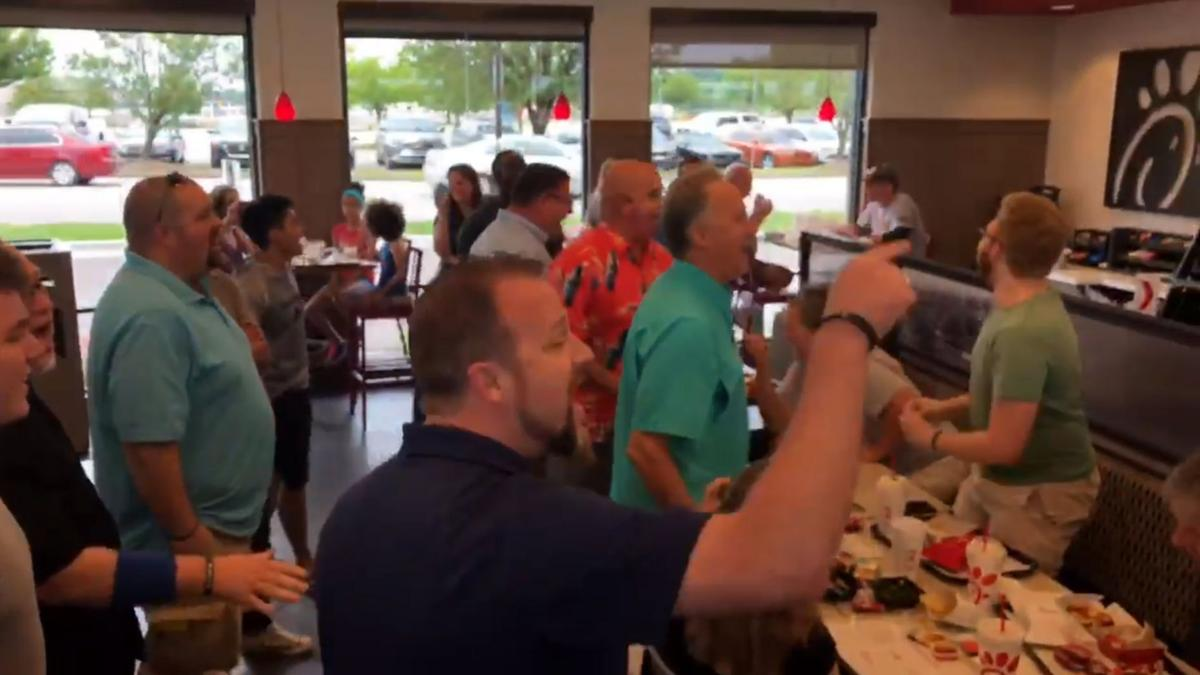 Worship Group sings at Chick fil A