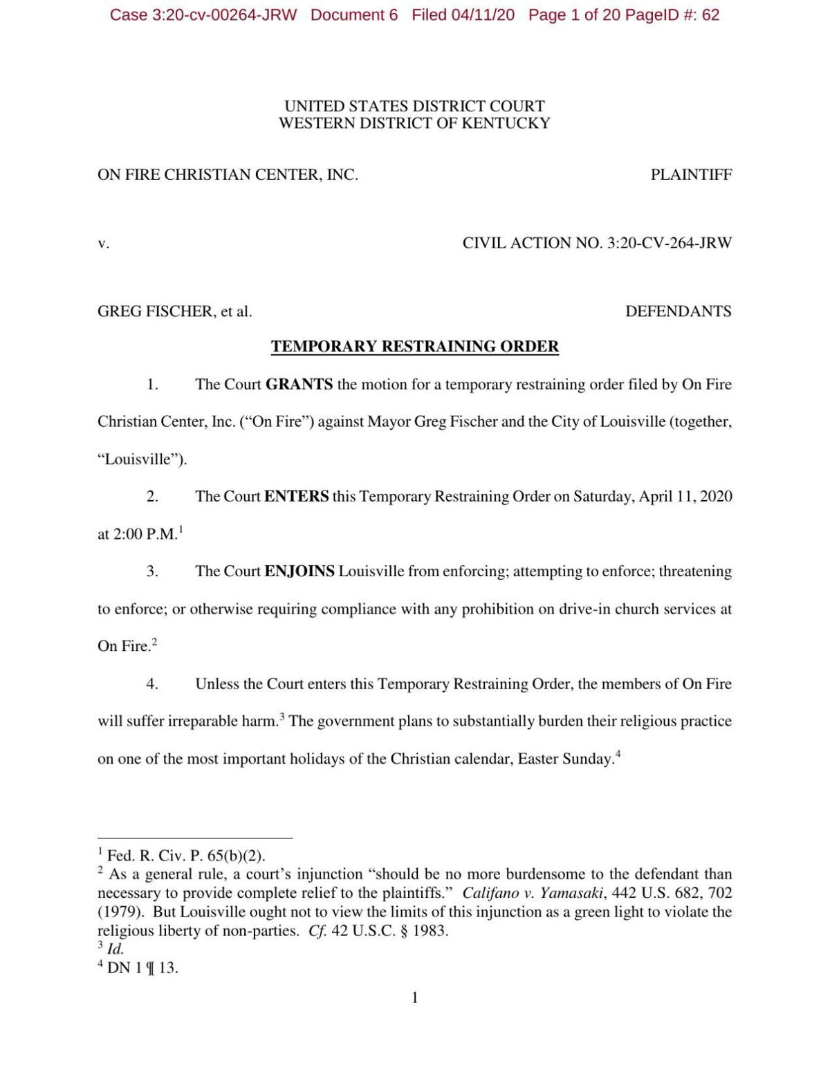 On Fire Church temporary restraining order against Fischer granted