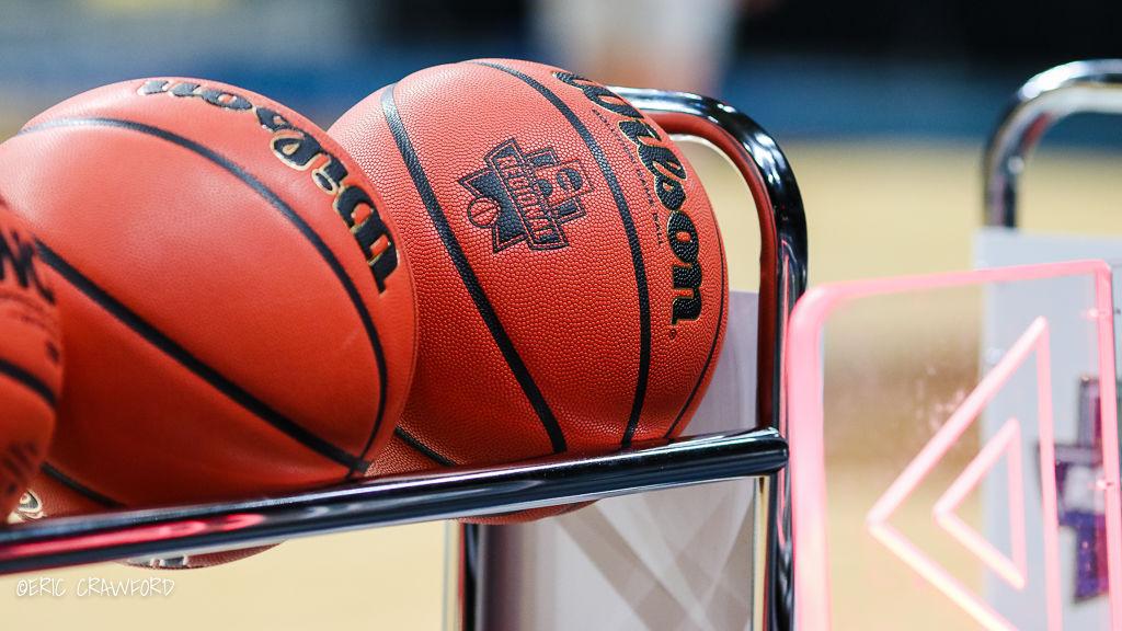 Basketballs in rack