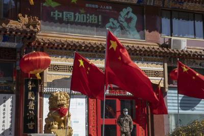 CORONAVIRUS - Chinese flags in Beijing