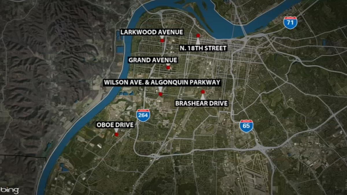 MAP - Shooting locations where 8 people were shot in Louisville in 24-hour period from May 21-22, 2019