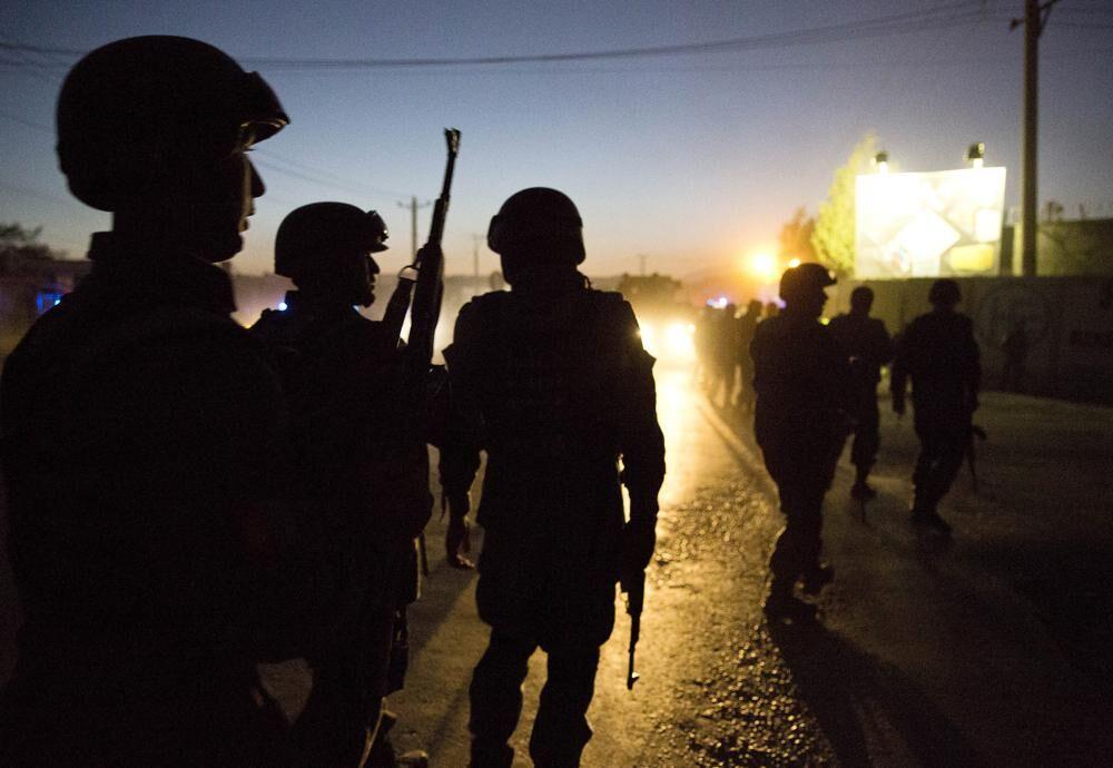 Afghan police at night