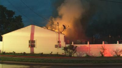 House fire in New Albany shoots flames into the air