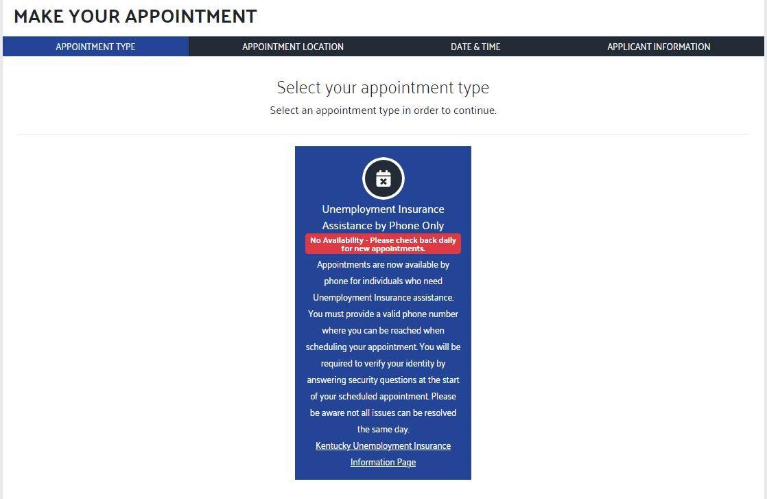 Kentucky unemployment phone appointment screen shot