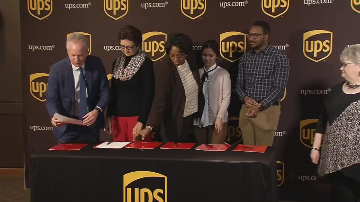 Mayor Greg Fischer, U of L, JCTC, UPS officials sign extension for Metropolitan College program on Jan. 28, 2020