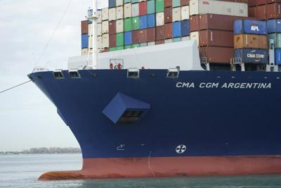Container ship docks at Florida port