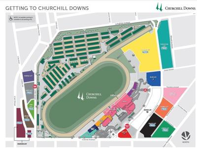 Churchill Downs details parking plan for remainder of Spring ... on louisville map, texas motor speedway map, santa anita map, elizabethtown map, cave hill cemetery map, emerald downs map, madison square garden map,
